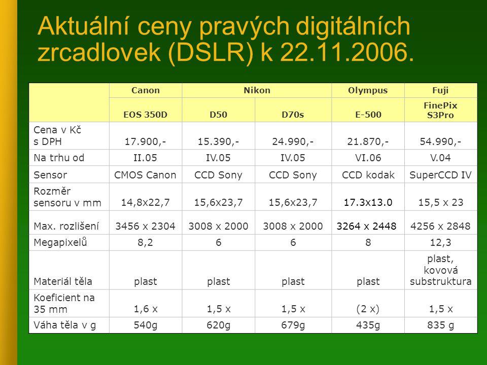 Aktuální ceny pravých digitálních zrcadlovek (DSLR) k 22.11.2006.