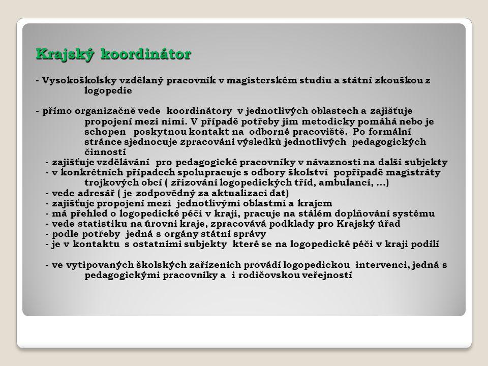 Krajský koordinátor - Vysokoškolsky vzdělaný pracovník v magisterském studiu a státní zkouškou z logopedie.
