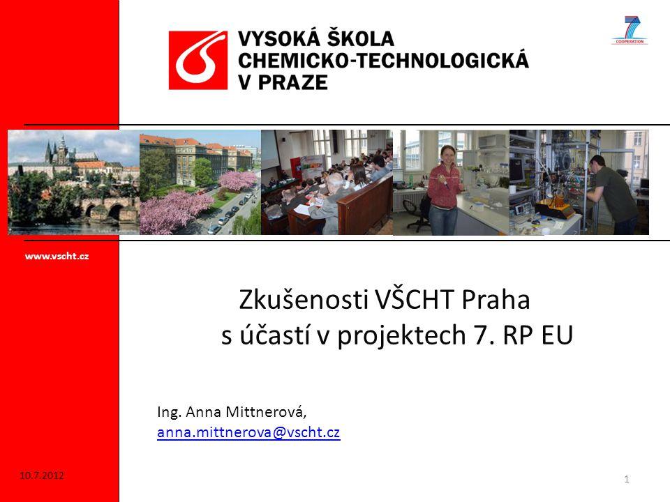 Zkušenosti VŠCHT Praha s účastí v projektech 7. RP EU