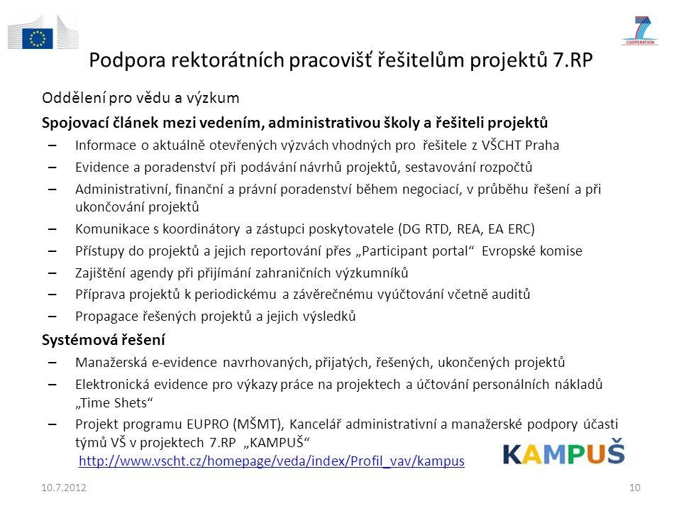 Podpora rektorátních pracovišť řešitelům projektů 7.RP