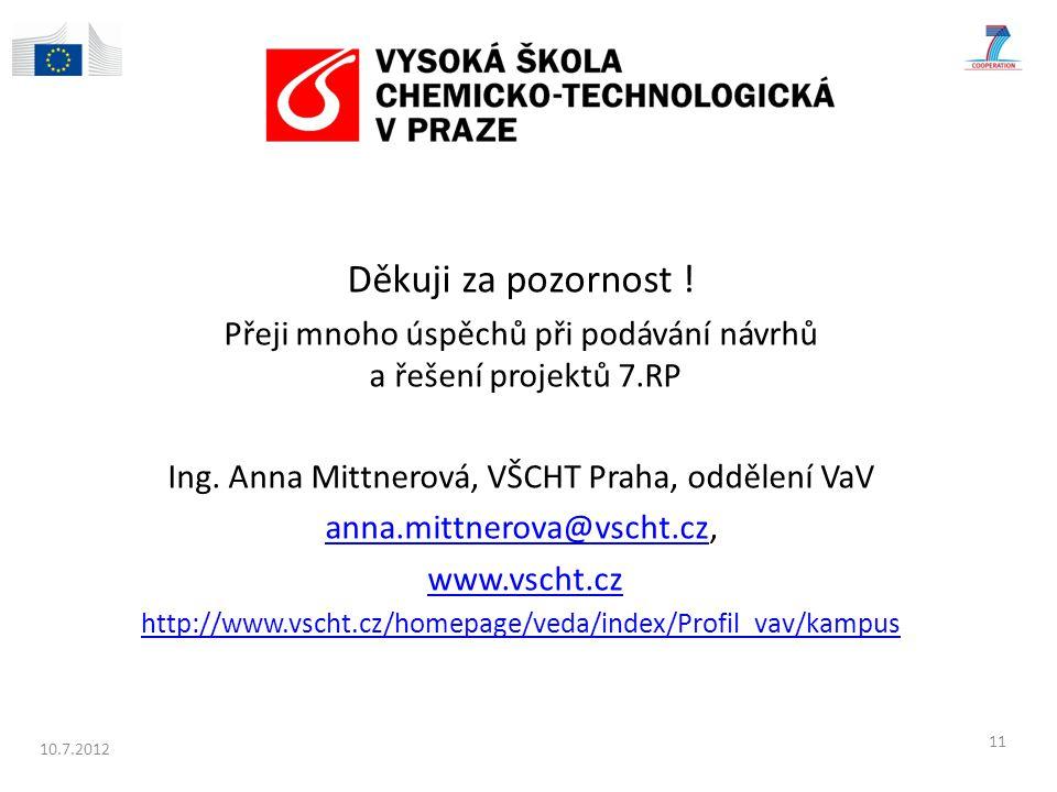 Děkuji za pozornost ! Přeji mnoho úspěchů při podávání návrhů a řešení projektů 7.RP. Ing. Anna Mittnerová, VŠCHT Praha, oddělení VaV.