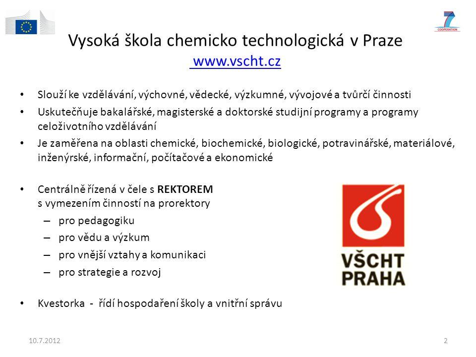 Vysoká škola chemicko technologická v Praze www.vscht.cz