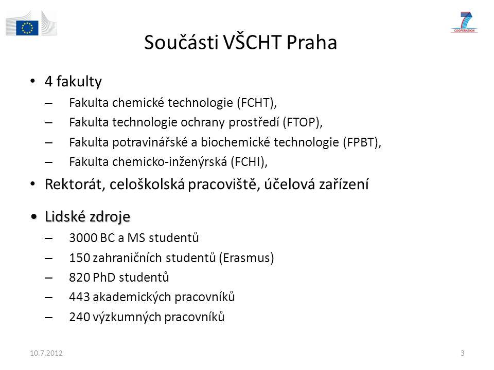 Součásti VŠCHT Praha 4 fakulty