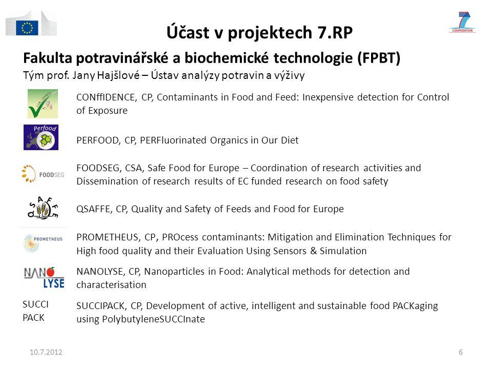 Účast v projektech 7.RP Fakulta potravinářské a biochemické technologie (FPBT) Tým prof. Jany Hajšlové – Ústav analýzy potravin a výživy.
