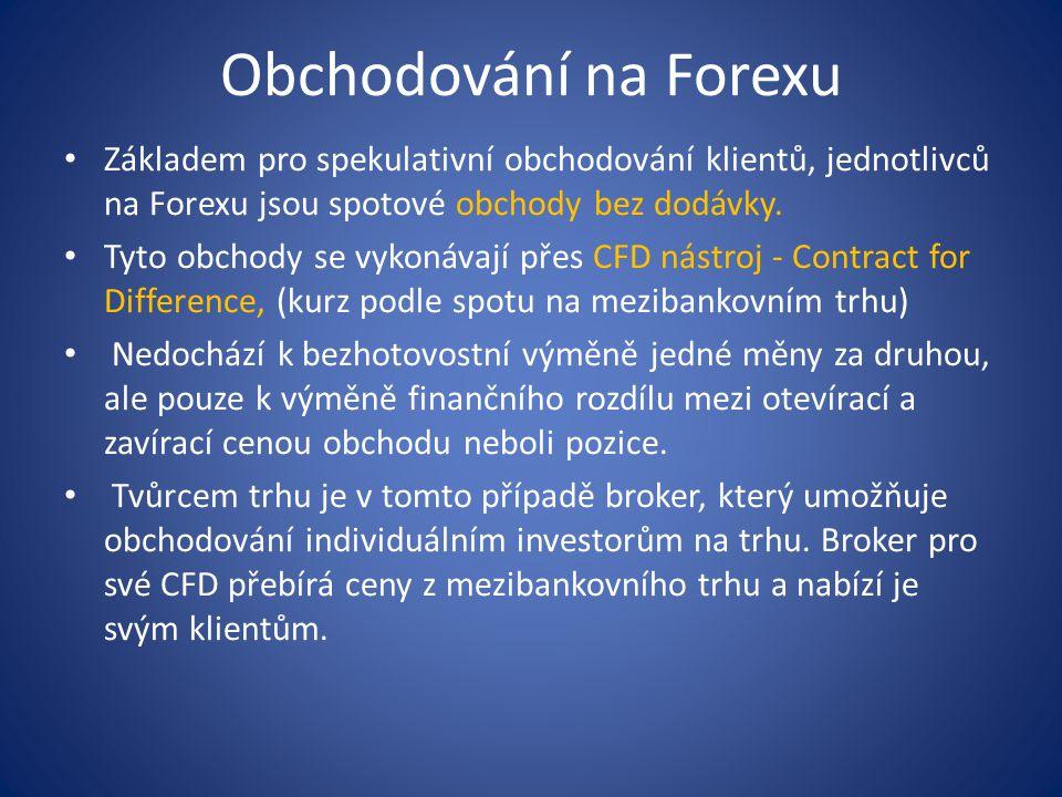 Obchodování na Forexu Základem pro spekulativní obchodování klientů, jednotlivců na Forexu jsou spotové obchody bez dodávky.