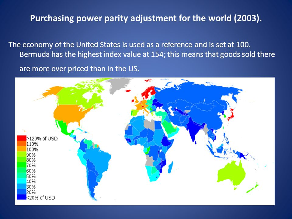 Purchasing power parity adjustment for the world (2003).