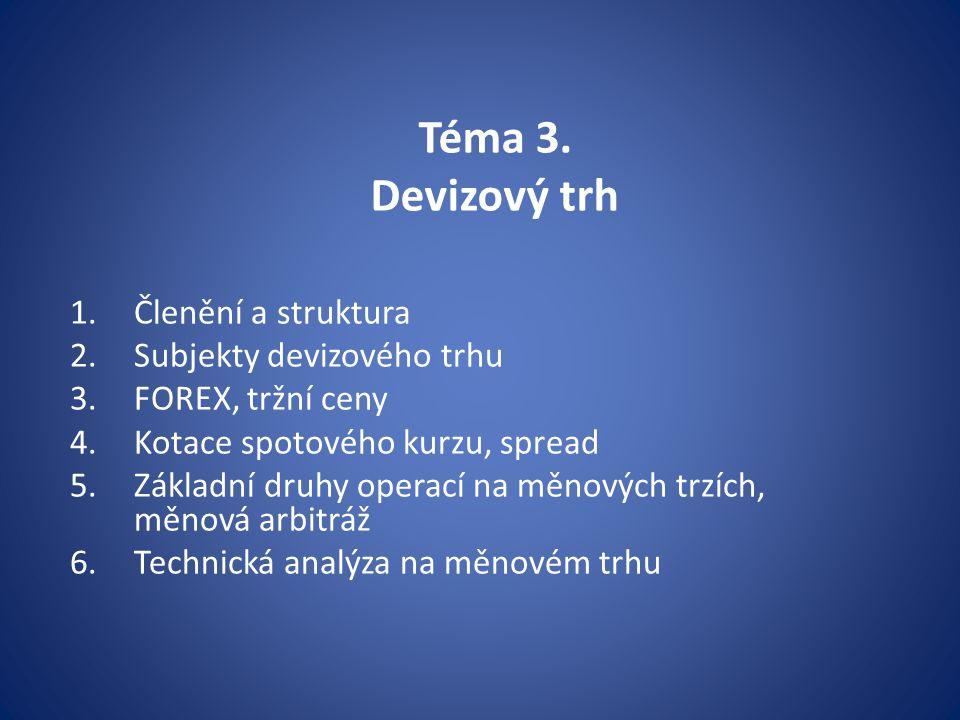 Téma 3. Devizový trh Členění a struktura Subjekty devizového trhu