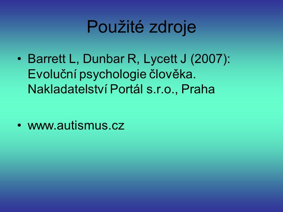 Použité zdroje Barrett L, Dunbar R, Lycett J (2007): Evoluční psychologie člověka. Nakladatelství Portál s.r.o., Praha.
