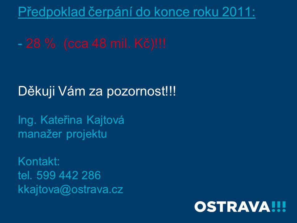 Předpoklad čerpání do konce roku 2011: - 28 % (cca 48 mil. Kč)