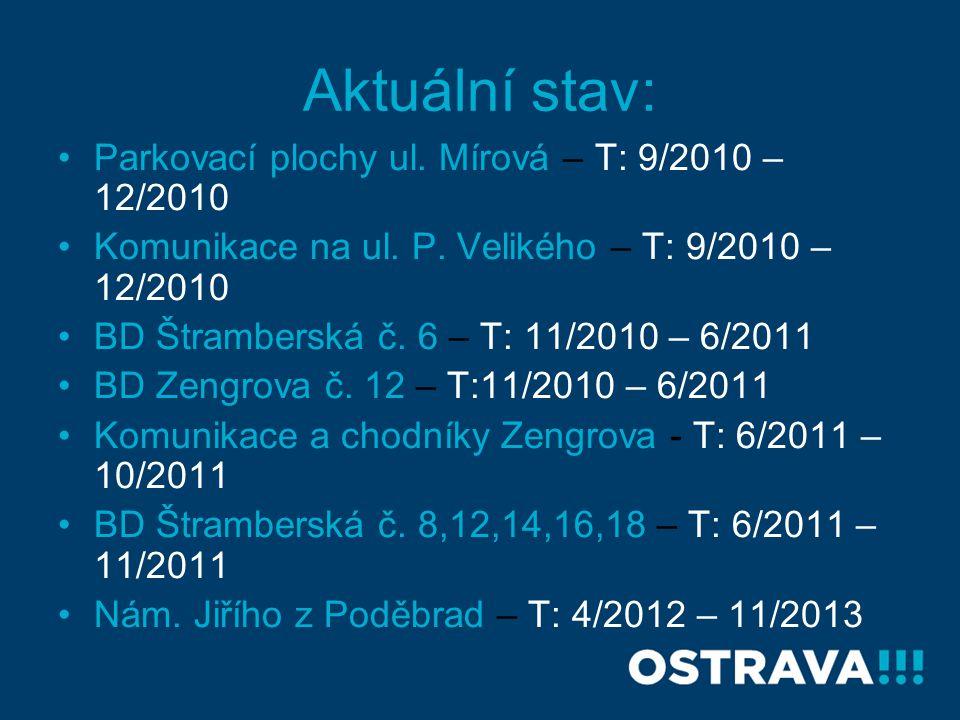 Aktuální stav: Parkovací plochy ul. Mírová – T: 9/2010 – 12/2010