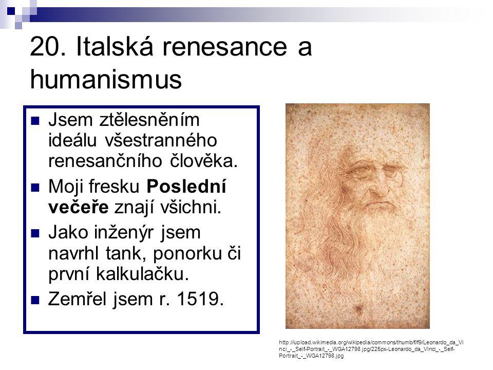 20. Italská renesance a humanismus