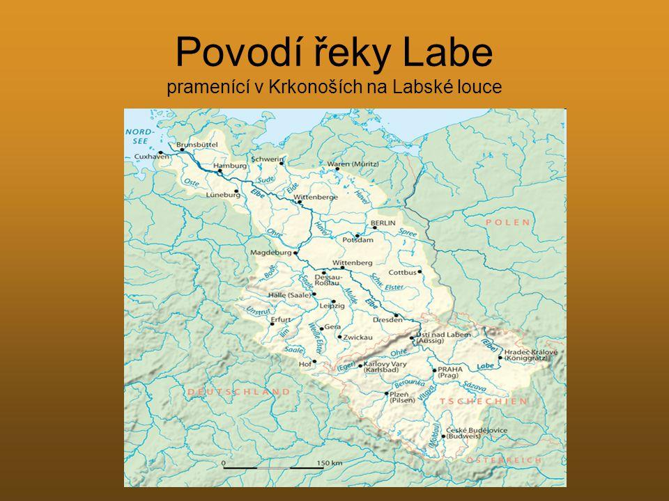 Povodí řeky Labe pramenící v Krkonoších na Labské louce