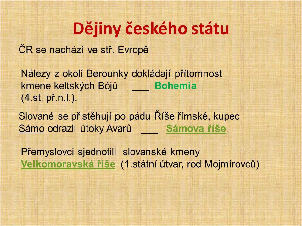 Dějiny českého státu ČR se nachází ve stř. Evropě