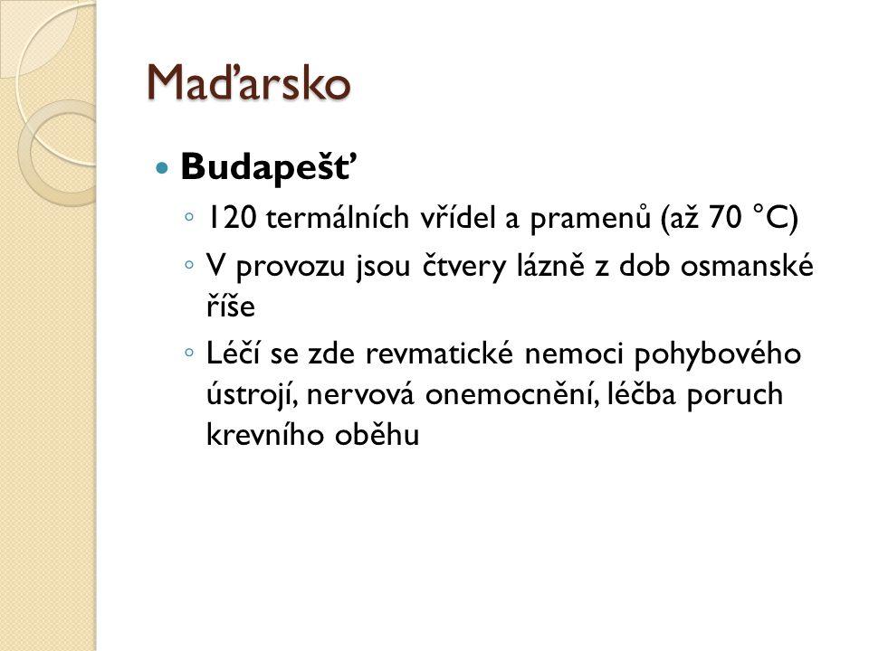 Maďarsko Budapešť 120 termálních vřídel a pramenů (až 70 °C)