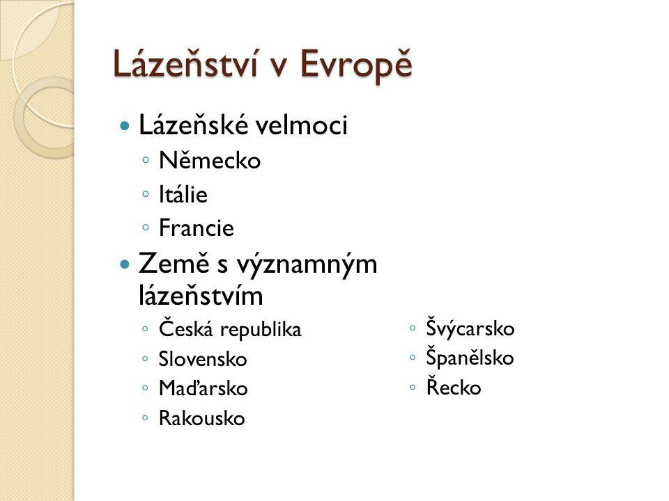 Lázeňství v Evropě Lázeňské velmoci Země s významným lázeňstvím