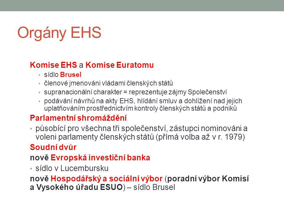 Orgány EHS Komise EHS a Komise Euratomu Parlamentní shromáždění