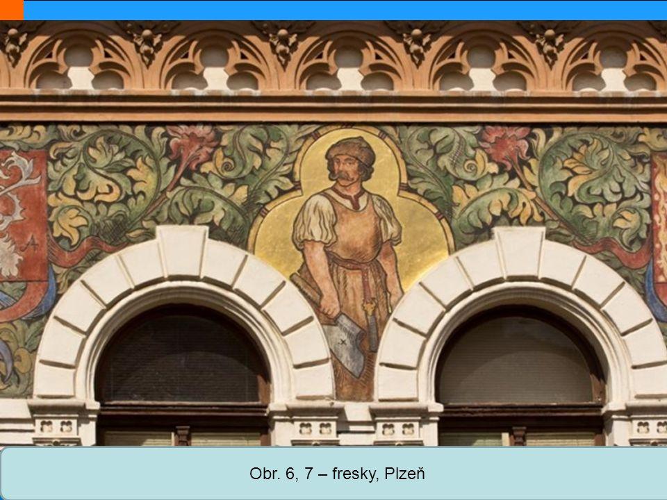 Obr. 6, 7 – fresky, Plzeň