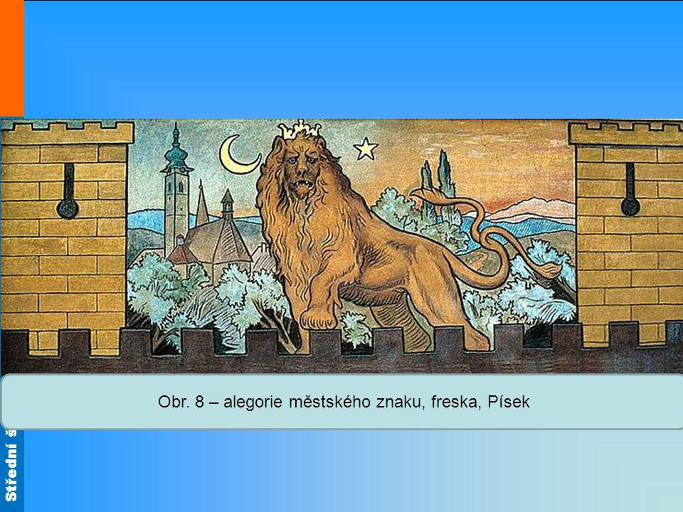 Obr. 8 – alegorie městského znaku, freska, Písek