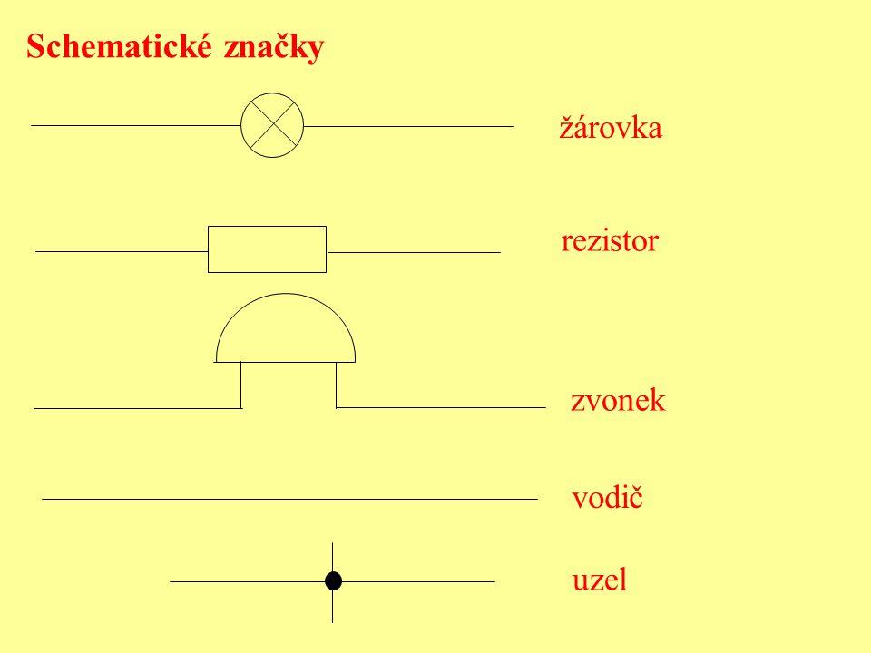 Schematické značky žárovka rezistor zvonek vodič uzel