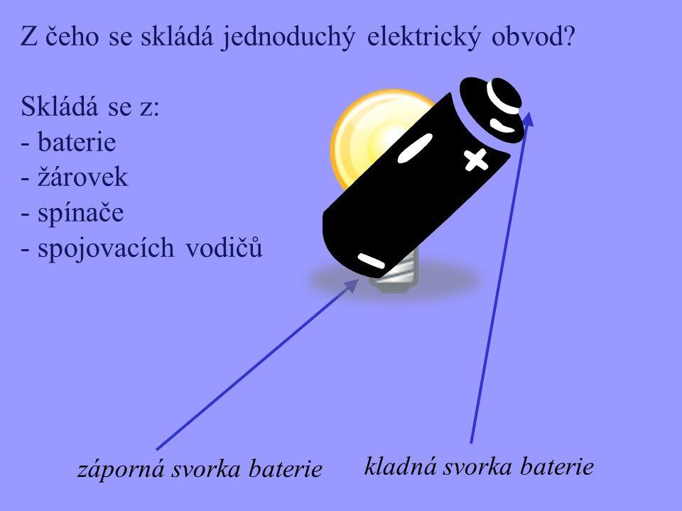 Z čeho se skládá jednoduchý elektrický obvod Skládá se z: baterie