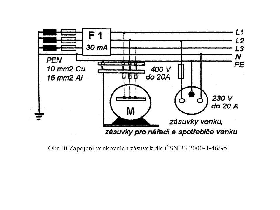 Obr.10 Zapojení venkovních zásuvek dle ČSN 33 2000-4-46/95