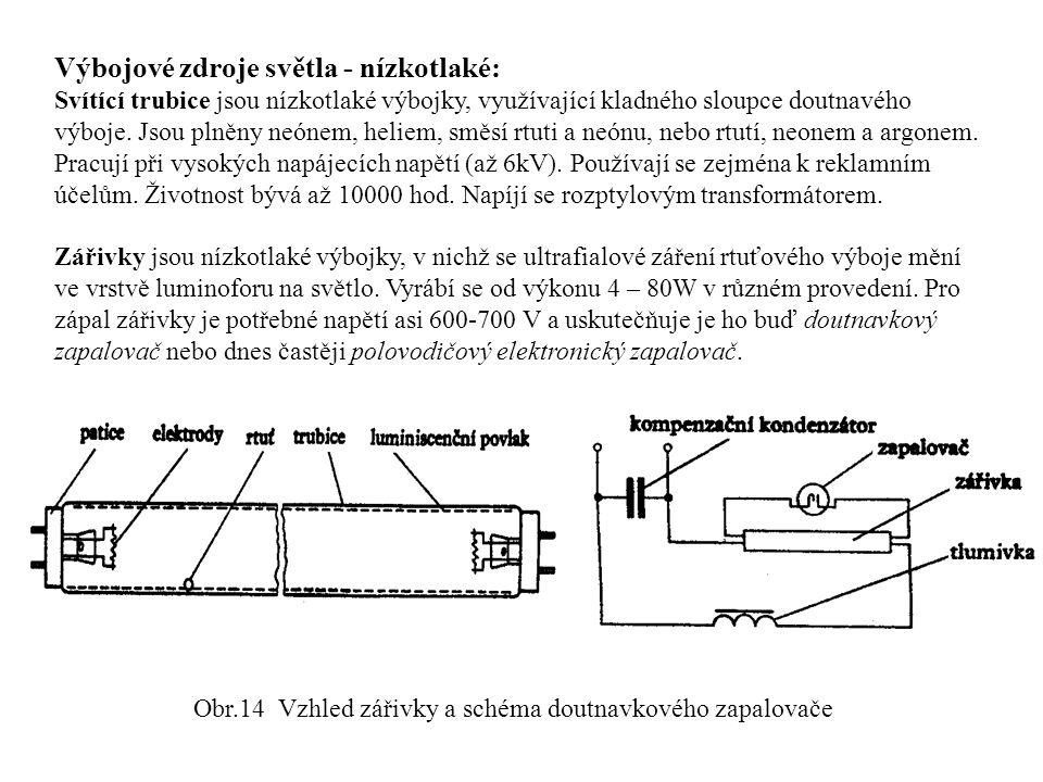Obr.14 Vzhled zářivky a schéma doutnavkového zapalovače
