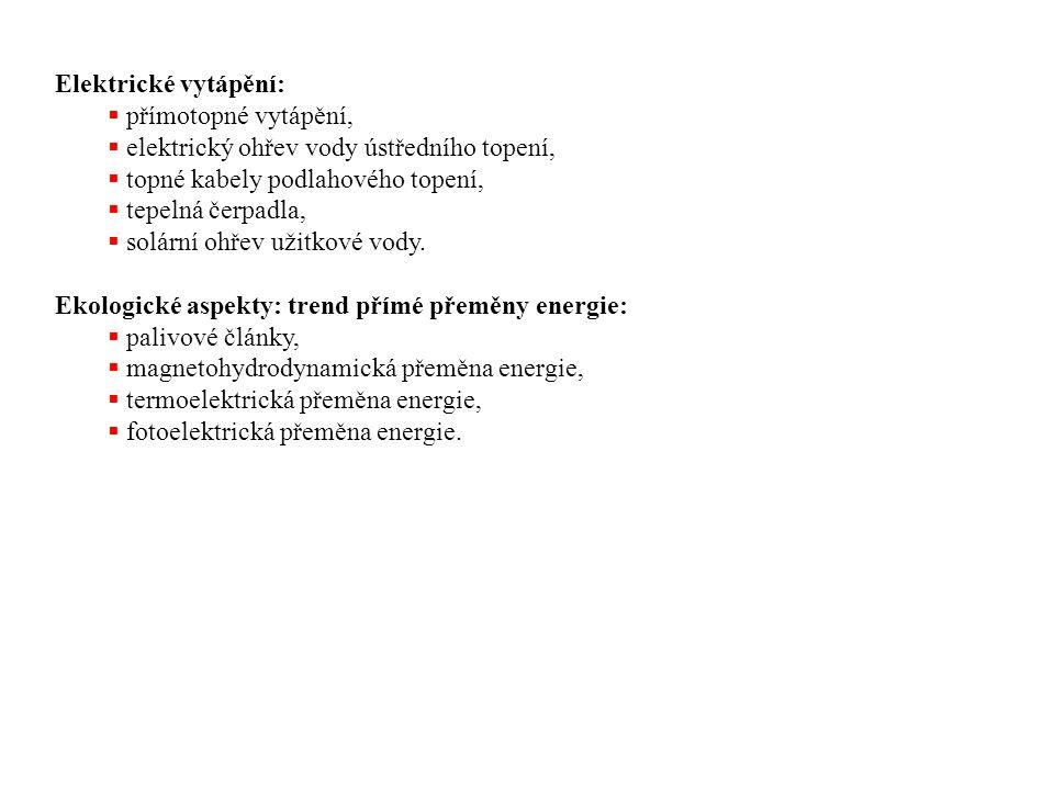 Elektrické vytápění: přímotopné vytápění, elektrický ohřev vody ústředního topení, topné kabely podlahového topení,
