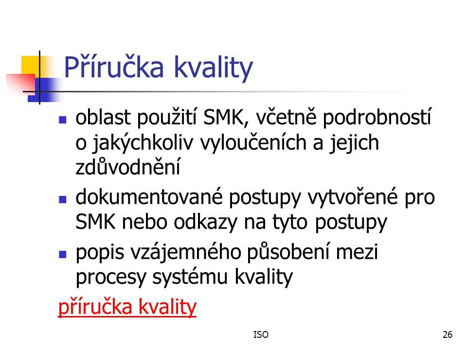 Příručka kvality oblast použití SMK, včetně podrobností o jakýchkoliv vyloučeních a jejich zdůvodnění.