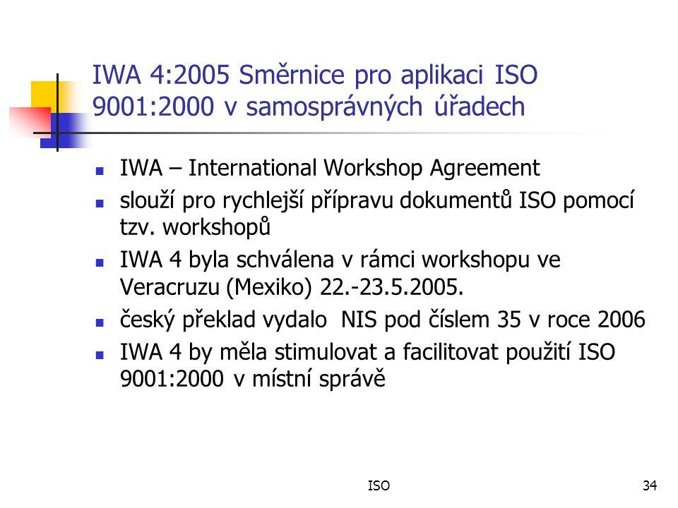 IWA 4:2005 Směrnice pro aplikaci ISO 9001:2000 v samosprávných úřadech