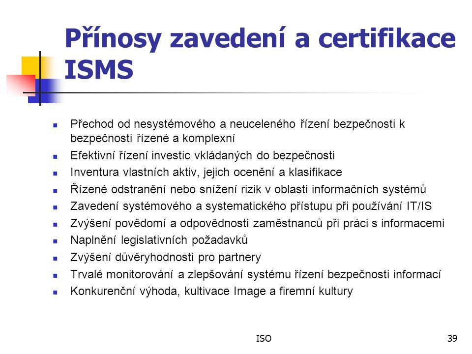 Přínosy zavedení a certifikace ISMS
