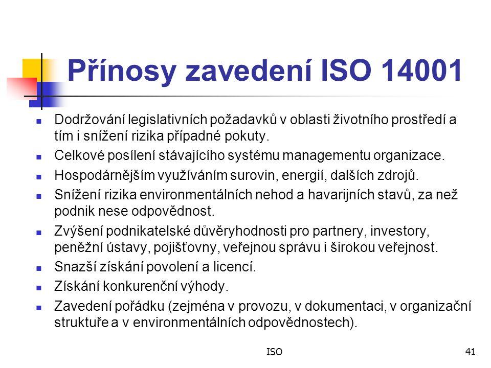 Přínosy zavedení ISO 14001 Dodržování legislativních požadavků v oblasti životního prostředí a tím i snížení rizika případné pokuty.