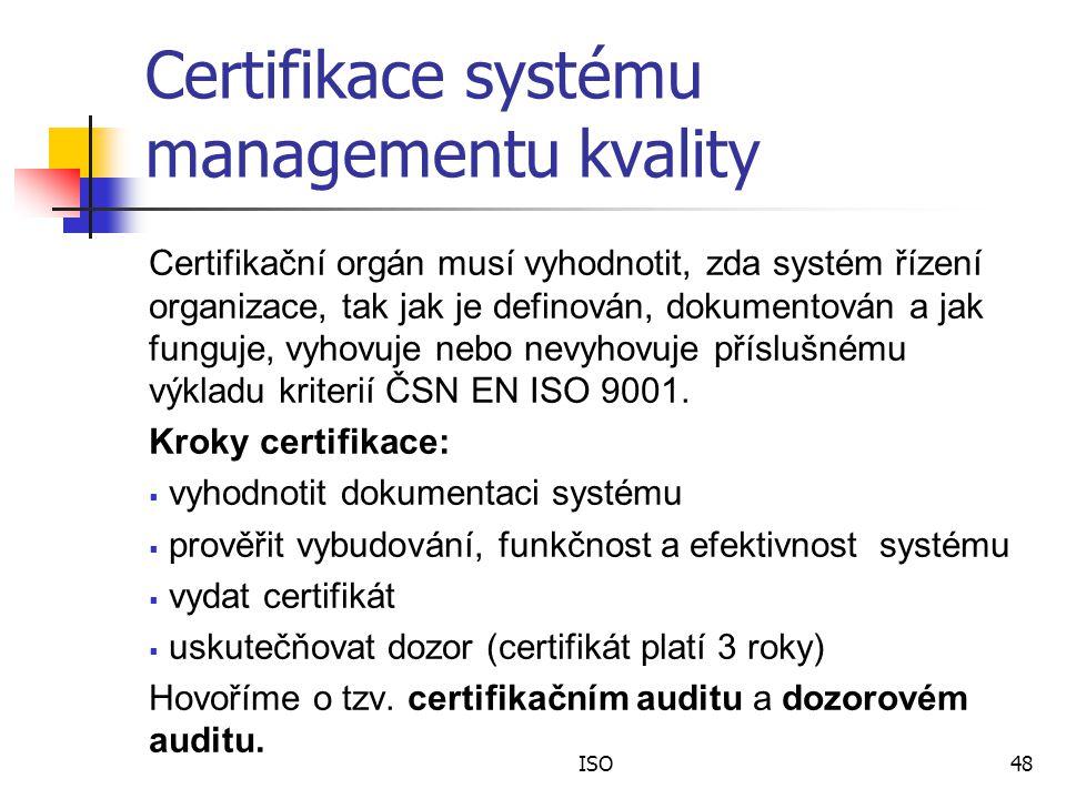 Certifikace systému managementu kvality