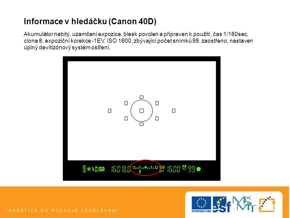 Informace v hledáčku (Canon 40D)