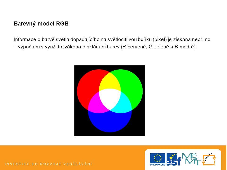 Barevný model RGB Informace o barvě světla dopadajícího na světlocitlivou buňku (pixel) je získána nepřímo.