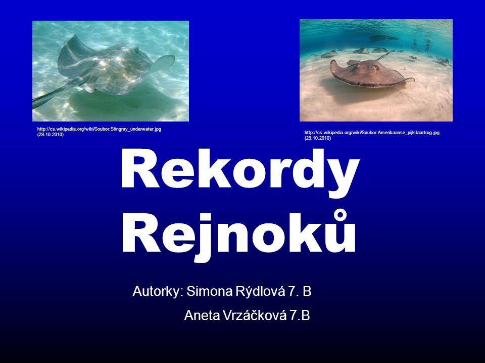 Rekordy Rejnoků Autorky: Simona Rýdlová 7. B Aneta Vrzáčková 7.B