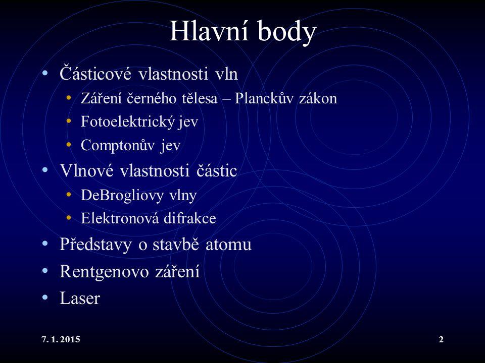 Hlavní body Částicové vlastnosti vln Vlnové vlastnosti částic