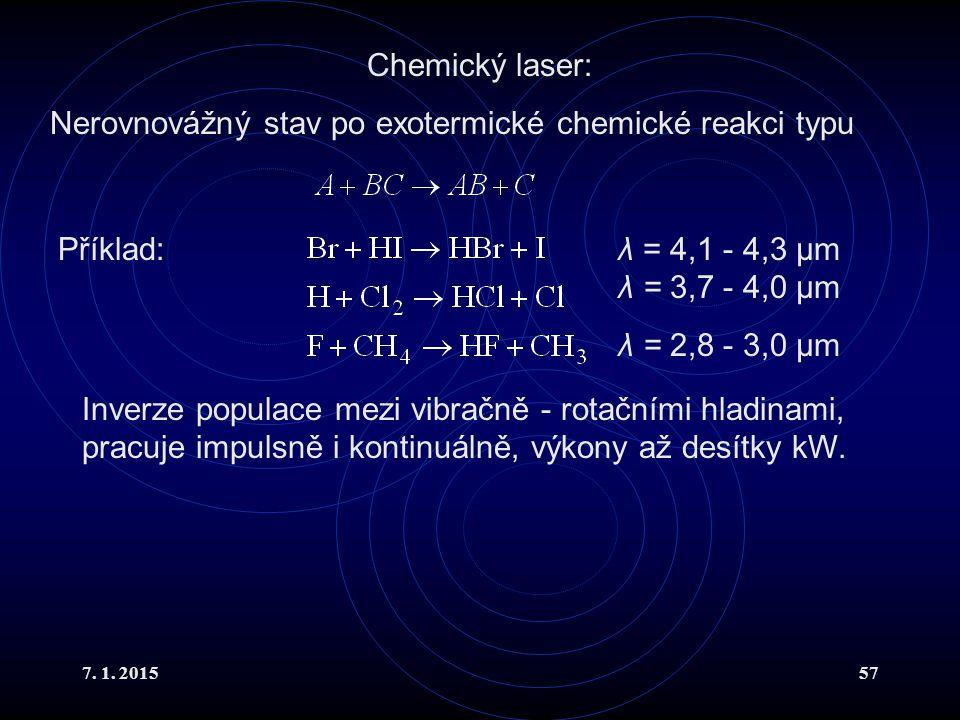 Nerovnovážný stav po exotermické chemické reakci typu
