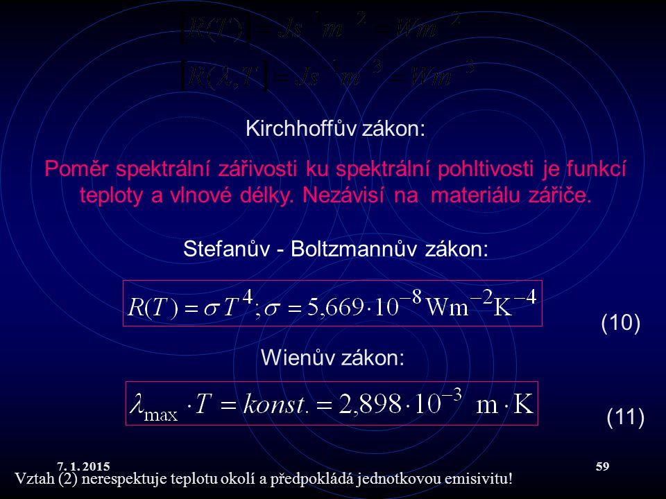 Stefanův - Boltzmannův zákon: