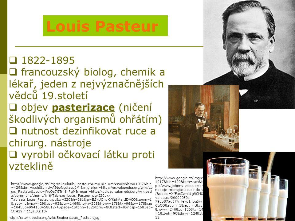 Louis Pasteur 1822-1895. francouzský biolog, chemik a lékař, jeden z nejvýznačnějších vědců 19.století.