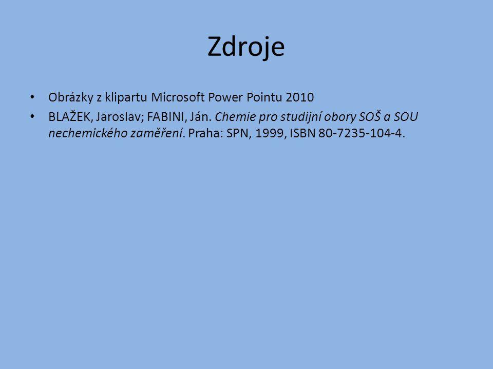 Zdroje Obrázky z klipartu Microsoft Power Pointu 2010