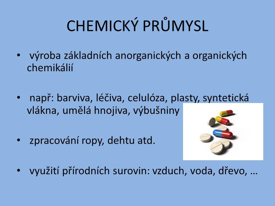 CHEMICKÝ PRŮMYSL výroba základních anorganických a organických chemikálií.