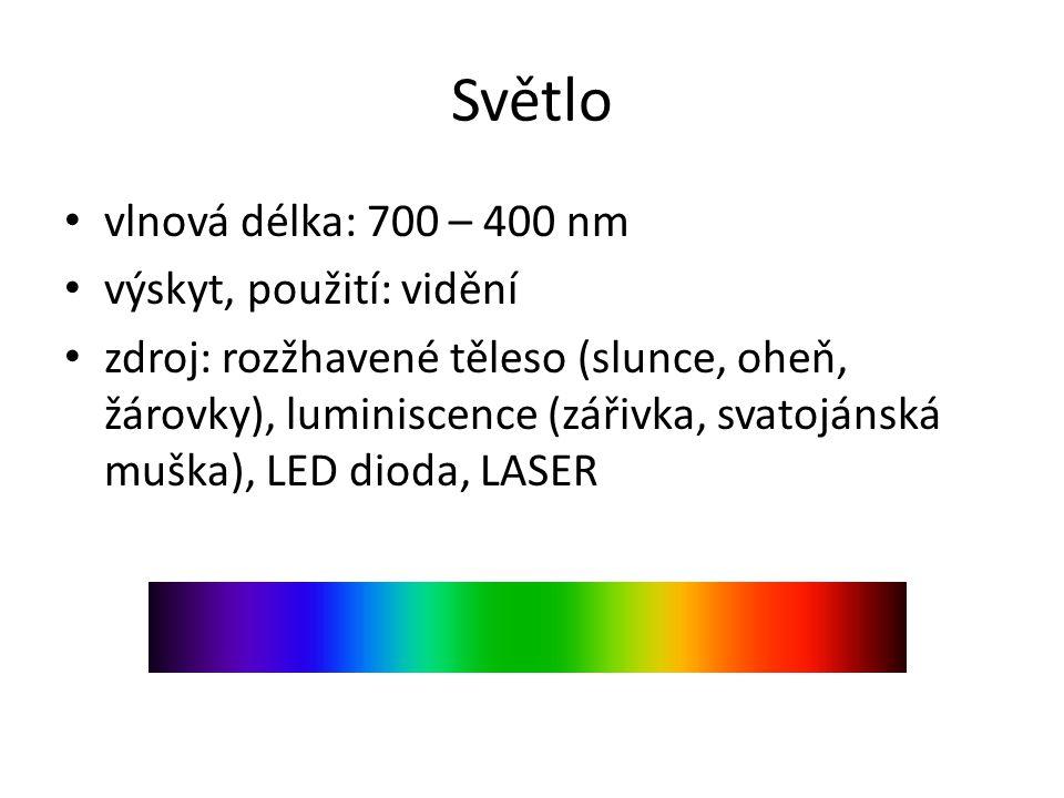 Světlo vlnová délka: 700 – 400 nm výskyt, použití: vidění