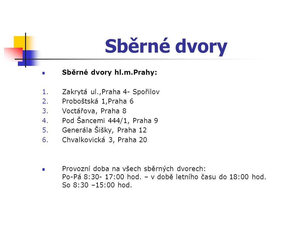 Sběrné dvory Sběrné dvory hl.m.Prahy: Zakrytá ul.,Praha 4- Spořilov