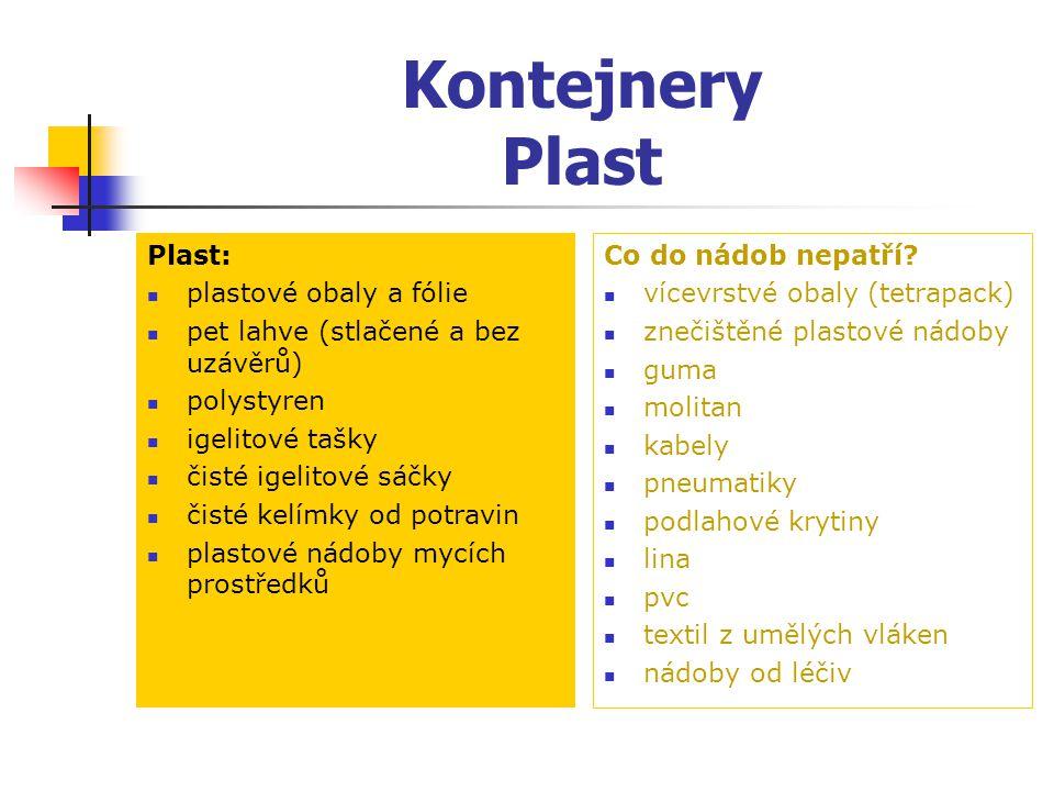 Kontejnery Plast Plast: plastové obaly a fólie