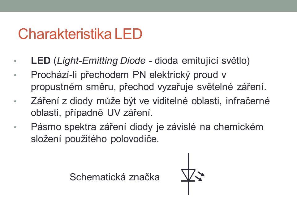Charakteristika LED LED (Light-Emitting Diode - dioda emitující světlo)