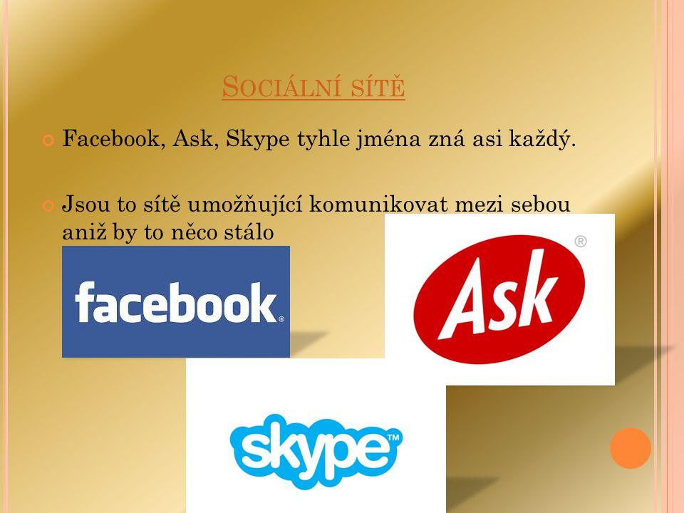 Sociální sítě Facebook, Ask, Skype tyhle jména zná asi každý.