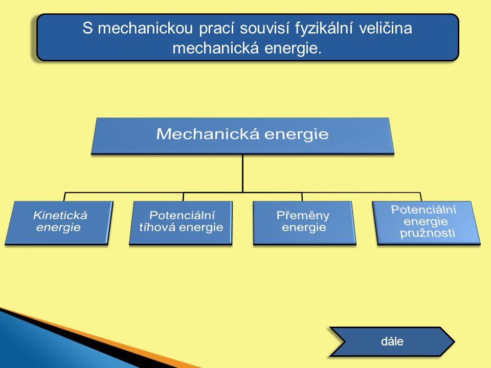 S mechanickou prací souvisí fyzikální veličina mechanická energie.
