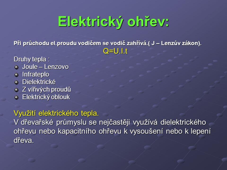 Elektrický ohřev: Q=U.I.t Využití elektrického tepla.