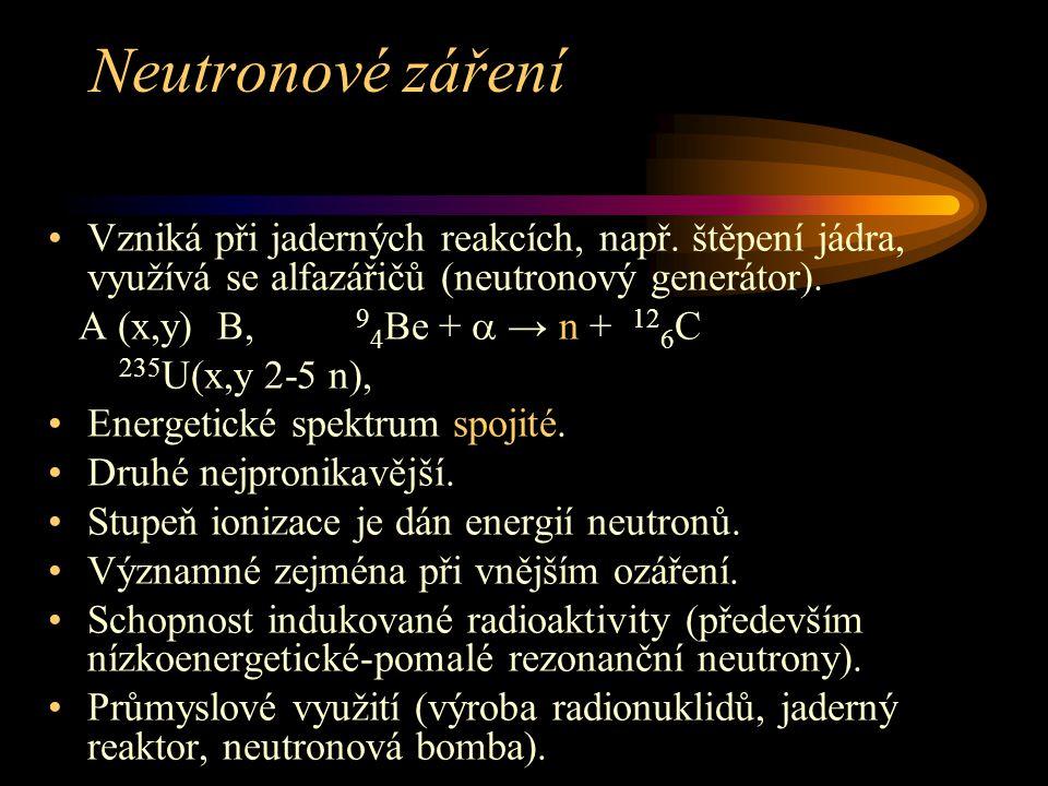 Neutronové záření Vzniká při jaderných reakcích, např. štěpení jádra, využívá se alfazářičů (neutronový generátor).