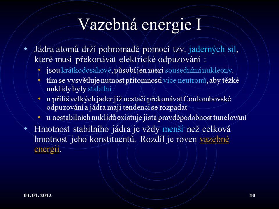 Vazebná energie I Jádra atomů drží pohromadě pomocí tzv. jaderných sil, které musí překonávat elektrické odpuzování :